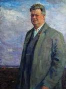 В.Г. Гремитских 'Председатель'  мешковина, масло; 113х83 1962 год