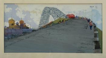Георгий Георгиевич Кикин «Кинешма. Мост» 1963 г. Бумага, карандаш, темпера, уголь. 38х70 см  Самарский областной художественный музей.