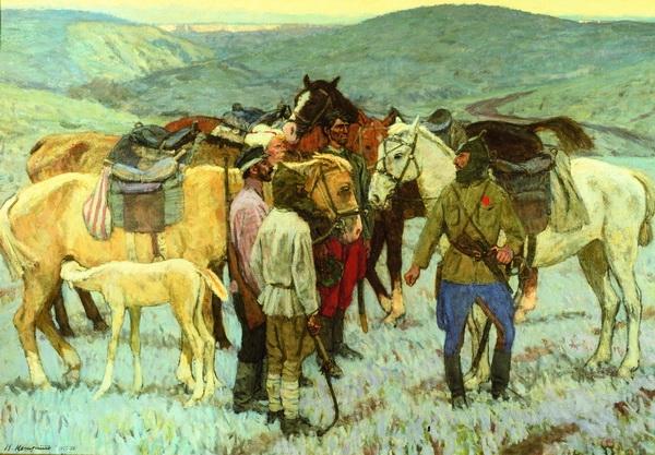 Последняя картина В.К. Нечитайло «Красные партизаны»  Государственная Третьяковская галерея