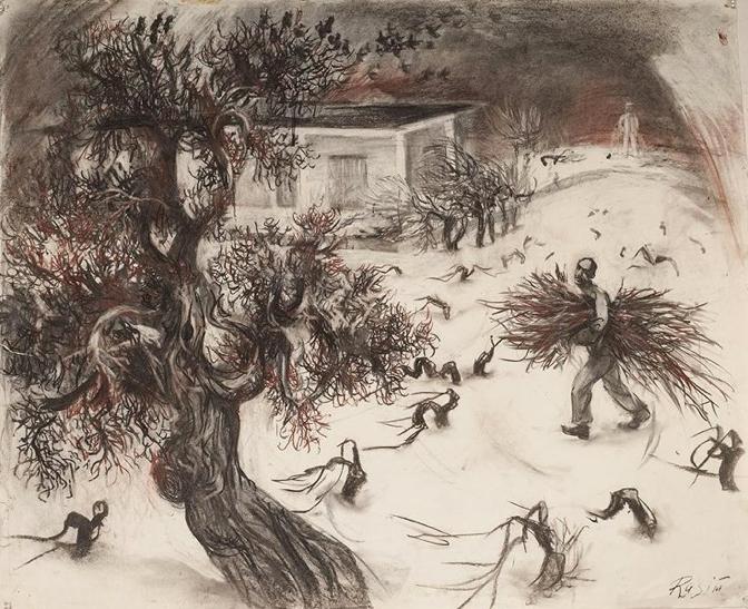 Бабаев Расим Ганифа оглы. (1927–2007)  «Март на даче»  1980-е годы. Бумага, сангина, уголь. Государственный музей Востока