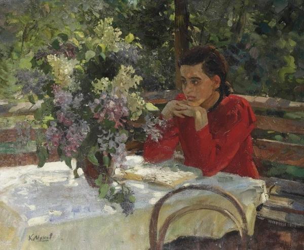 Максимов К.М. «Перед экзаменом» Холст, масло. 80х95 см 1962 г.