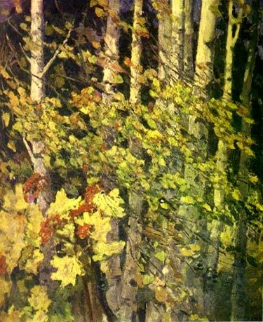 М.Ф. Володин  «Осень золотая» Оргалит, масло. 122х103 см 1971 г.