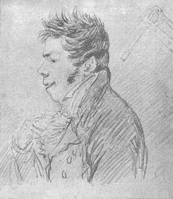 А. Орловский «Портрет М.Ю. Виельгорского» бумага, граф. карандаш.  Собрание А. Шишова