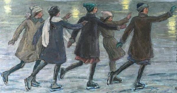 Н.М. ЧЕРНЫШЁВ  «На катке»  Холст, масло. 53х106 см  1958 г.