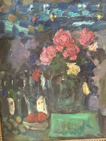 Розы ночью. 1979 г. холст, масло. 64х49 см