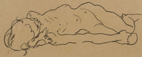 Эгон Шиле «Лежащая обнажённая» бумага, карандаш; 19.7×41.6 см; 1918 год