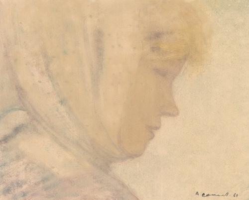 Соколов А. Д.  «Рабочая из Колвица» 1961 год. Бумага, монотипия. 29 Х 36 см