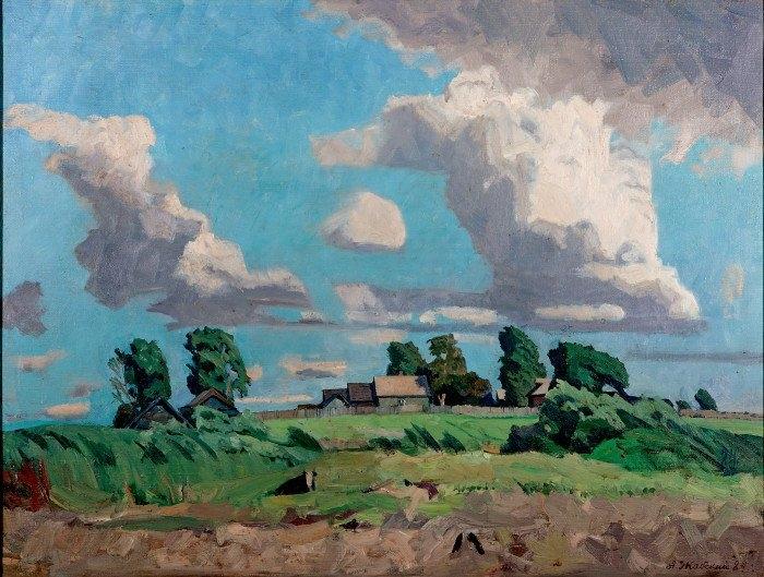 А.А. Жабский. Деревня на берегу реки Улеймы. 1984 г. Собственность семьи художника.