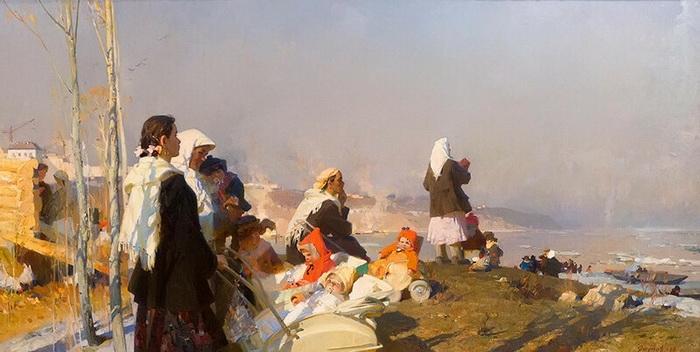Харис Якупов «Весна на Волге» 1960 год, холст, масло, Государственный музей изобразительных искусств Республики Татарстан.
