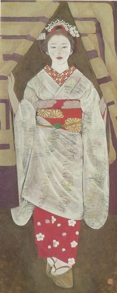 Тадаси Исимото «Норэн» (шторка перед входом в ресторан или магазин с изображением торгового знака) картина 173,5х72 1970 г.