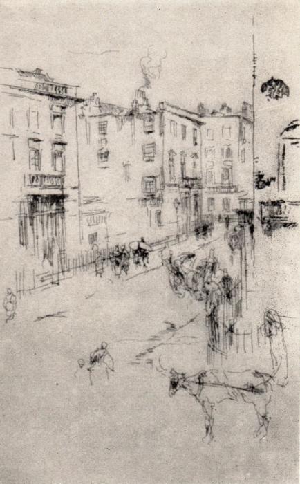 Джемс Макнейл Уистлер. Лондонская улица. Офорт.