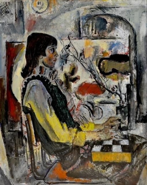 Е. Моисеенко «Девушка с шахматами»  1974 г.