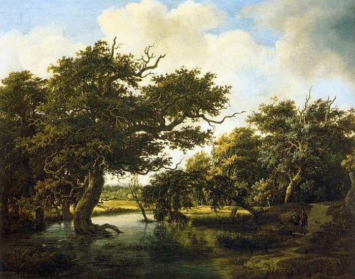 Мейндерт Хоббема  «Деревья у воды» Холст, масло.