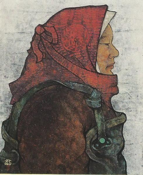 Кодзи Мацумура  «Жена рыбака» картина 71,5х60 1973 г.