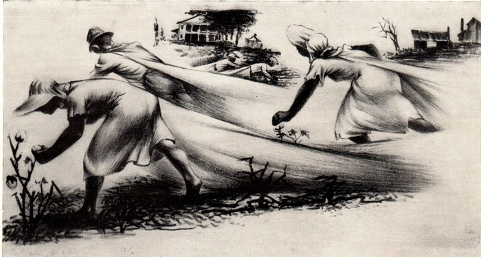 Виктор Арнаутов. Уборка хлопка. Литография.