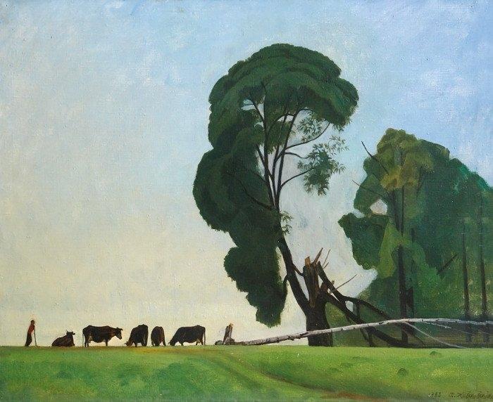 А.А. Жабский. Тёплый вечер. 1983 г. Холст, масло. 50х60 см  Собственность семьи художника.