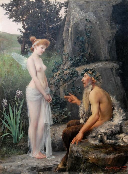 «Пан и Психея» Эрнст Климт 1892 год, 121×88 см