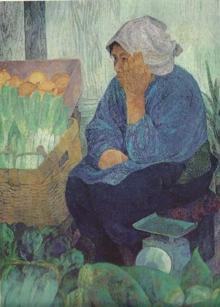 Сакаэ Мацумото «Утренний базар в Тоиоока»  картина 115х79 1973 г.