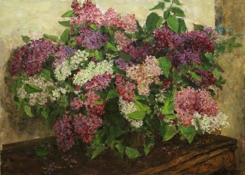 В.Г. Гремитских «Сирень на столе» холст, масло; 80х100; 1970 год