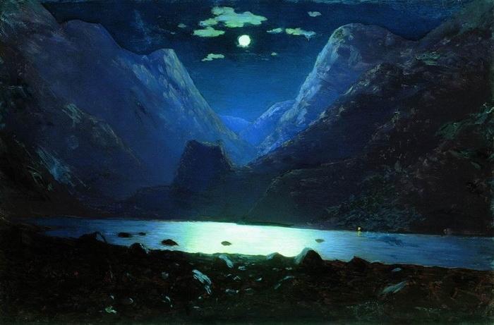 Архип Иванович Куинджи «Дарьяльское ущелье. Лунная ночь» (1890—1895). Холст, масло.