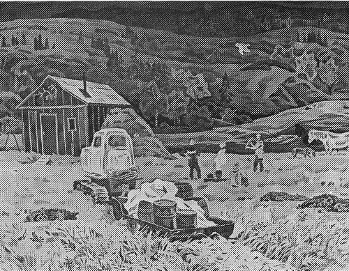 Рустам Исмаилович Яушев «Вечер в бригаде» из серии «Камчатка» бумага, гуашь. 1976 г.