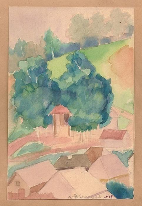 Н. Синезубов «Cолнечный день» 1927 г. Бумага, акварель
