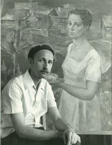 Борис Шаманов пишет «Портрет жены» 1964 г.
