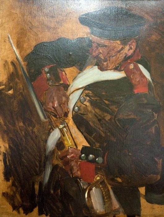 Ф. Рубо.  Этюд к Панораме «Оборона Севастополя». Штурм 6 июня 1855 года. Заряжающий солдат. 1901-1902 гг