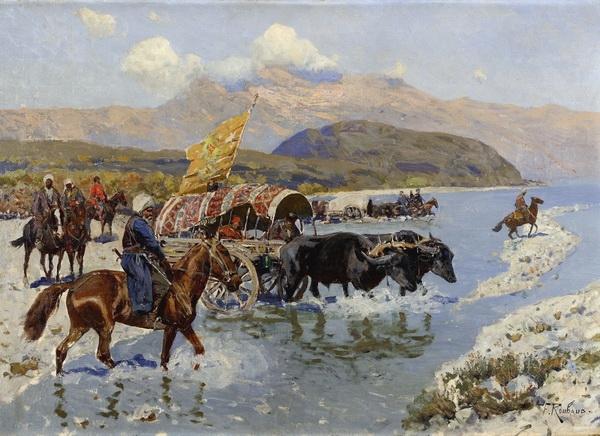 Франц Рубо «Переправа через реку»