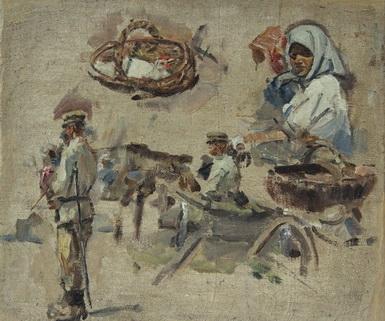 В.Г. Гремитских 'Базар. Наброски.'  холст. масло; 47х53,; конец 1930-х годов