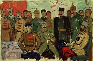 Г.М. Гордон Второй эскиз к картине 'Полководцы Гражданской войны' бумага, темпера; 53х83; 1972-75 годы