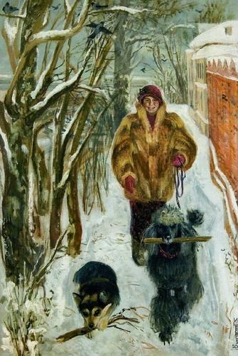 И.А. Широкова «Автопортрет с собаками»