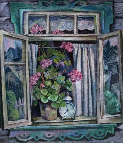 Б.И. Шаманов «Деревенское окно», 1966 год, холст, масло. Частное собрание.
