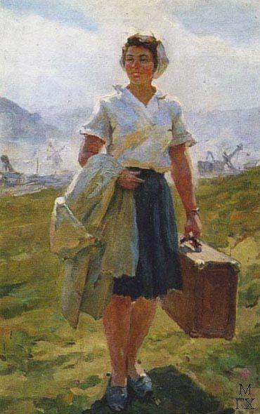 А.И. Плотнов «На стройку» 1951 г. Холст, масло