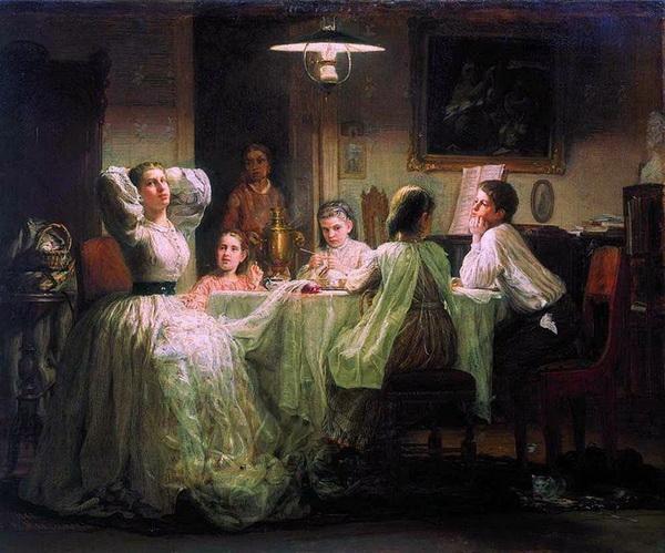 «Шитьё приданного» 1866 г. Холст, масло. Государственная Третьяковская галерея