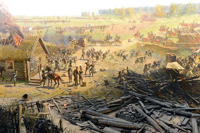 Ф. Р у б о. Бой за деревню Семёновская. Фрагмент панорамы «Бородинская битва» с предметным планом
