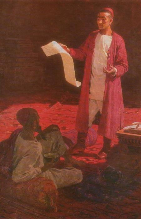 Чары Амангельдыев. Молодой Махтумкули читает своё произведение отцу Азади. Масло. 1959 г.