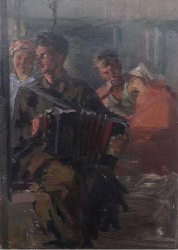 Соколов А. Д.  «В вагончике» Картон, масло. 44x32 см