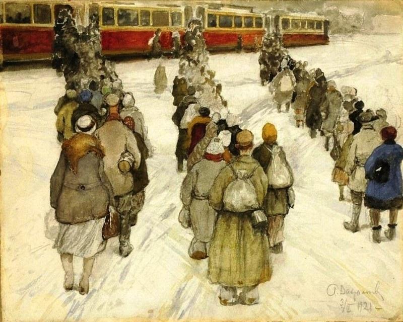 А.И. Вахрамеев. Очередь на трамвай. 1921 г.  Пензенская областная картинная галерея им. К.А. Савицкого.