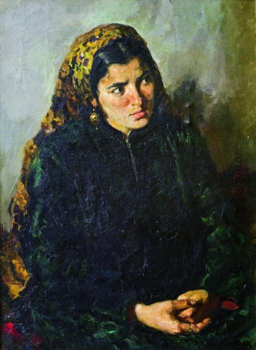 Геннадий Яковлевич Брусенцов «Портрет женщины-туркменки» Масло.