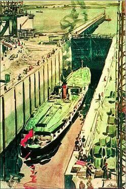 А.А. Шовкуненко «Пароход проходит шлюз»  Из серии «Днепрострой». Акварель. 1933 г.