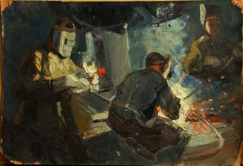 В.Г. Гремитских «Сварщики» картон, масло; 36х52; 1952 год