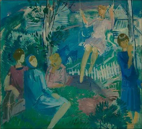 Б.И. Шаманов Эскиз к картине «Качели», 1975 год, бумага, акварель, гуашь, 54 х 60 см., частное собрание.