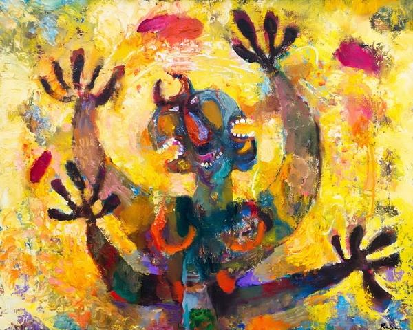 Бабаев Расим Ганифа оглы. (1927–2007)  «Див в аду», 1999 г. Холст, акрил. Собрание семьи художника