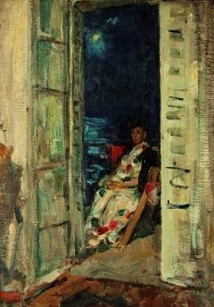 В.Г. Гремитских «На балконе» Картон, масло. 70х50 см 1966 г.