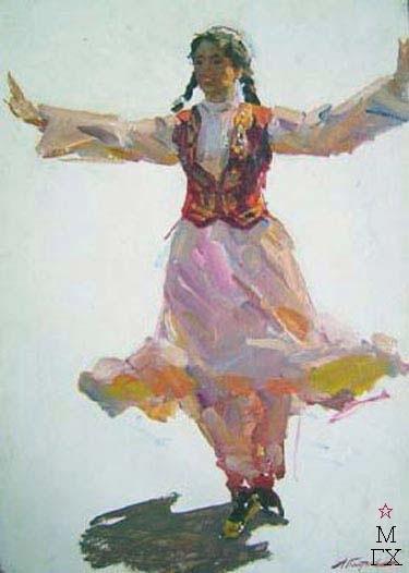 А.И. Плотнов «Узбечка танцует»  картон, масло 70х50 см 1957 год