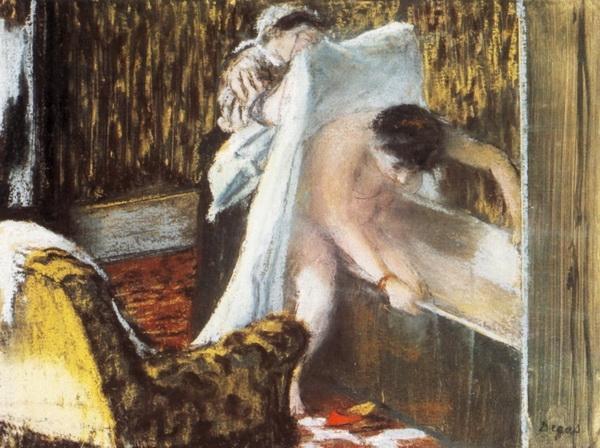 Эдгар Дега «Женщина, выходящая из ванной» 1877 г.   23х31см  Musée d'Orsay, Paris, France