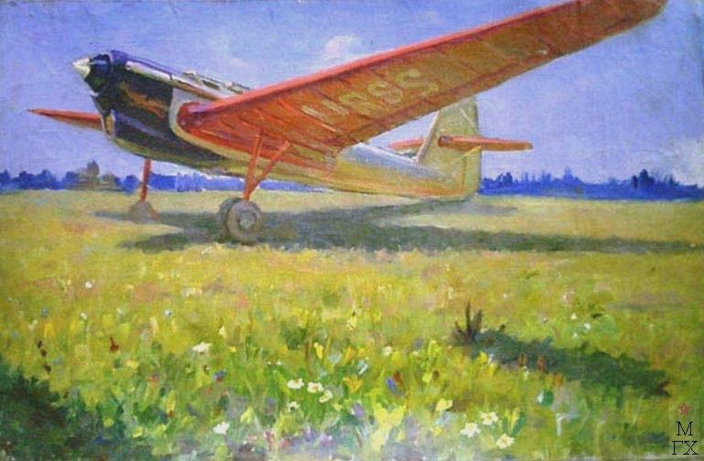 А.И. Плотнов «Самолет»   Х.М. 50х78 см