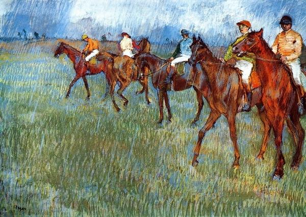 Эдгар Дега «Жокеи под дождём»  1881 г.
