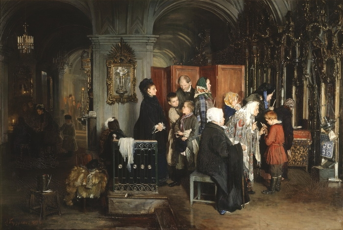 А. Корзухин  «Исповедь в церкви»  Масло. 1877 г.